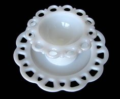 Open Lace Milk Glass Plate & Compote Candy Dish Anchor Hocking Vintage White