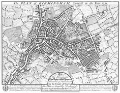 Map of Birmingham in 1731 by Westley.  Masses of fascinating detail, the Cathedral looked out over open fields, St Martins church and New Street are two other helpful landmarks. The whole place was smaller than the present day city centre.