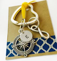 Compass Keychain, No Matter Where Key Chain, Hand Stamped Infinity Keychain, Best Friends Keychain Mother Daughter Keychain