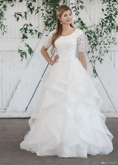 Discount 2019 New Ball Gown Modest Wedding Dress With Half Sleeves Beaded Lace Top Ruffles Skirt Temple Bridal Gowns Sleeved Custom Made Wedding Gowns With… Wedding Dress Cinderella, Wedding Dress Organza, Wedding Gowns With Sleeves, Wedding Frocks, Gown Wedding, Half Sleeve Wedding Dress, Wedding Rings, Wedding Shot, Wedding Stuff