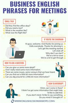 Business English phrases for meetings. Starting and closing meetings or conference calls in English. Learn useful vocabulary. Improve English Writing, English Speaking Skills, English Learning Spoken, Teaching English Grammar, English Writing Skills, English Vocabulary Words, English Language Learning, English Lessons, Academic Vocabulary