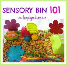 Sensory Bin 101- The why, what and how of sensory bins plus many sensory bin ideas!