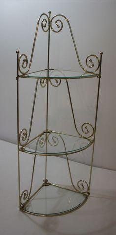 """Gold Metal Glass Shelves Hanging Corner Wall Shelf Set of 2 26""""H 3 Glass Shelves #Unbranded #HollywoodRegency"""