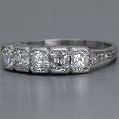 Art Deco Wedding Band Asscher-cut Diamonds