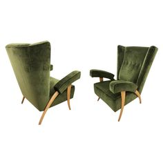 Pair of Paolo Buffa Armchairs, Italy, — Gaspare Asaro-Italian Modern — Italian Mid Century Modern Furniture and Lighting— New York, NY Mid Century Modern Fabric, Mid Century Modern Furniture, Modern Armchair, Modern Chairs, Modern Lounge, Green Velvet Armchair, Round Back Dining Chairs, Mid Century Armchair, Used Chairs