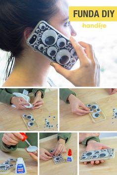 Funda para el móvil con ojos ➜  Protege tu teléfono móvil con esta funda decorada con ojitos de plástico. #DIY #Manualidades #Handfie
