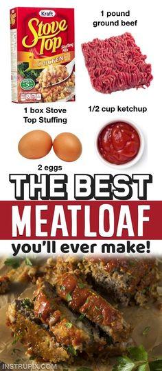 Good Meatloaf Recipe, Meat Loaf Recipe Easy, Best Meatloaf, Meatloaf With Stuffing, Ground Pork Meatloaf, Healthy Meatloaf Recipes, Stove Top Meatloaf, Easy Meat Recipes, Ground Beef Recipes Easy