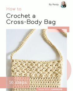 Crochet a Cross-Body Bag Diy Crochet Bag, Crochet Bag Tutorials, Crochet Video, Crochet Purse Patterns, Handbag Patterns, Knit Crochet, Crochet Cross, Knitting Patterns, Crochet Handbags