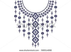 Geometric ethnic pattern neck embroidery design for background or wallpaper and clothing - compre este vetor na Shutterstock e encontre outras imagens. Kurti Embroidery Design, Embroidery Neck Designs, Embroidery Motifs, Embroidery Transfers, Embroidery Fashion, Applique Designs, Cross Stitch Embroidery, Cross Stitch Designs, Cross Stitch Patterns