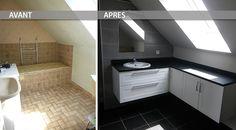 Cette semaine, nous vous proposons de découvrir comment nous avons modernisé une salle de bain sous pente, avec un maximum de rangements !