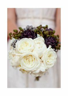 amazing white rose bouquet with grape accents ... via ♥ French Wedding Blog