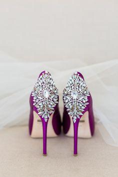 Wedding Day Shoes Purple Heels Rhinestone Backs…