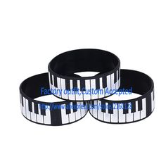 "Cheap bracelet, Buy Quality bracelet maker directly from China wristband rubber Suppliers: 1PC 1"" Wide Printed Big Piano Keys Silicon Wristband Bracelet for Music Fans Custom Your Logo Accepted"