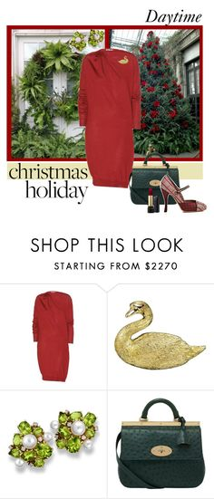 """Patrons' Tea"" by maxfield ❤ liked on Polyvore featuring Lanvin, Buccellati, Mulberry, Tabitha Simmons, Lancôme, red_dress and holiday2013"