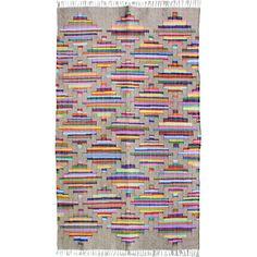 Multi handmade flat weave jute & cotton rug   hardtofind.