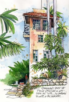 Urban Sketchers: Cuban Palms by James Richards Sketch Painting, Watercolor Sketch, Drawing Sketches, Watercolor Paintings, Drawing Drawing, Sketch Art, Doodle Drawings, Watercolours, Urban Sketchers