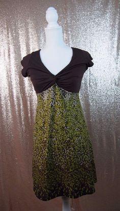 Kathmandu Imports Womens Brown Green Leaf Pattern Sleeveless V Neck Dress Medium  | eBay