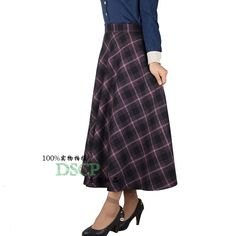 2017 Spring Winter Women High Waist Plaid Ankle Length Long Warm Wool Maxi Skirts  Plus size red Pleat Wool Skirt For Female Y882