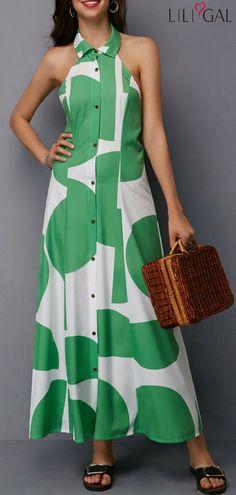 Backless Halter Sleeveless Button Up Maxi Dress Sara Fashion, Womens Fashion, Elegant Dresses, Casual Dresses, Maxi Dresses, Button Up Maxi Dress, Modest Wear, Zen, Classy Dress