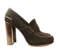 Celine Black Suede High Heeled Loafers sz 41
