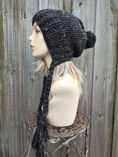 4189da7a584 Tweed Obsidian Black Slouchy Hat Knit Hat Womens Hat Black Hat Black Slouchy  Beanie - Charlotte Ear Flap Hat - Winter Hat