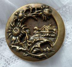 vieux bouton métal art nouveau français