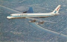 """United Airlines Douglas """"Mainliner Oahu"""" in flight over Los Angeles around the time of its delivery, May (Postcard Copyright: United Airlines) Air America, Douglas Dc 8, Plane Photos, Douglas Aircraft, Bicycle Brands, Air Lines, Commercial Aircraft, United Airlines, Cabin Design"""