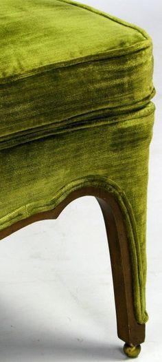 Olive green velvet - Henredon Green Velvet & Walnut Sculptural Slipper Chair image 6