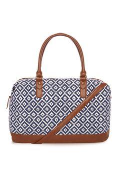 Primark - Reisetasche mit blauem Kachelmuster