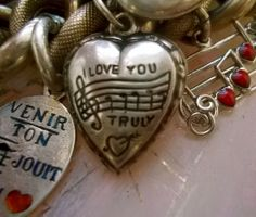 Vintage Sterling Silver Enamel I Love You Truly Puffy Heart Charm