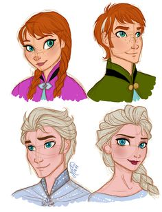 Here's Anna and Elsa genderbend, Frozen Disney Films, Disney And Dreamworks, Disney Pixar, Walt Disney, Disney Characters, Disney Princesses, Fictional Characters, Gender Bent Disney, Disney Gender Swap