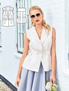 A top to pair with a skirt, though it works just as well with jeans. The waist of the unlined waistcoat is drawn in by the belt tabs at the sides. This wardrobe must-have is super cool and flexible. You can wear it with a turtleneck or a blouse, and it can be a great choice for the office in place of a blazer.