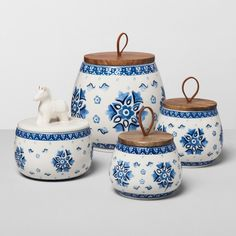 Floral Stoneware Canister with Wood Lid Blue/White - Opalhouse™ : Target