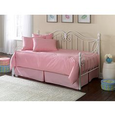 Fashion Bed Group Stephanie Metal Twin Daybed, Glossy White