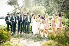 neutral bridesmaid dresses AND charcoal suits! it's the look :)