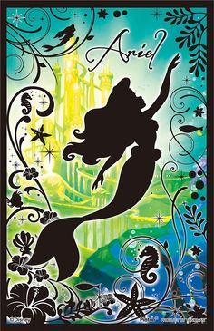 Ariel; silhouette with green & blue background