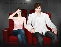 Victoria portrays what Ana and Christian might look like watching Fifty Shades of Grey at Escala in Viewing Valentines