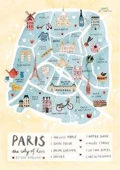 Paris Illustrated Map-France Art Print-City Map Poster Paris Illustrated Map - Paris Print - City Map Poster Romantic illustrated map print of Paris. With the Eiffel Tower, the Louvre, Moulin Rouge, S Paris Map, Paris City, Paris Poster, London Map, Map France, France Art, Lyon France, Nice France, Travel Tips
