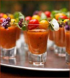 Vegetable Beef Soup Shooters, Food and beverage wedding ideas.