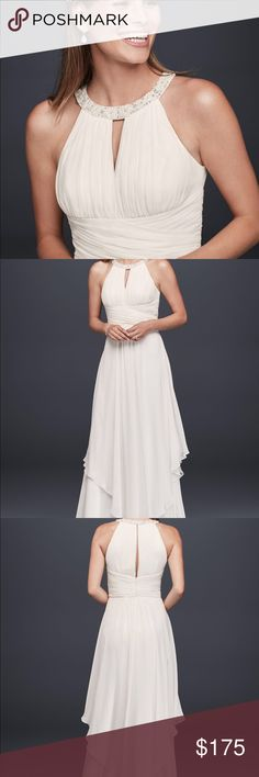 Formal simple wedding dress Long chiffon simple wedding dress with pearled neckline. Has keyhole in front and back. NEW never been worn. Size 12. David's Bridal Dresses Wedding