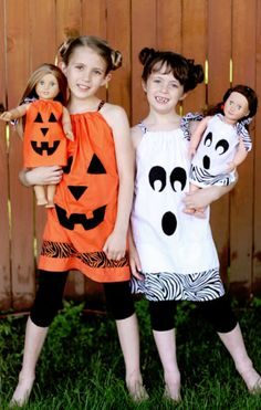 matching girl and doll halloween dresses - this is too cute!