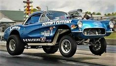 Lumpy's Corvette Gasser about to lift off the ground.