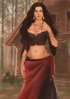 f Sorcerer forest cabin road hills Zahori in the woods Fantasy Women, Fantasy Girl, Fantasy Rpg, Des Femmes D Gitanes, Pin Up, Gypsy Women, Indian Art Paintings, Character Portraits, Woman Painting