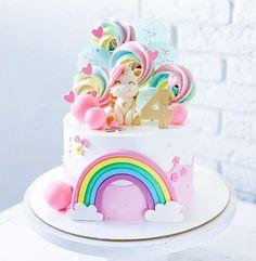Birthday Cake For Daughter, Half Birthday Cakes, Baby Girl Birthday Cake, Creative Birthday Cakes, Birthday Party Desserts, Beautiful Birthday Cakes, Unicorn Birthday Cakes, Simple Cake Designs, My Little Pony Cake