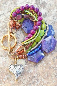 Purple & Green Heart Charm Bracelet