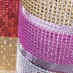 Diamond Rhinestone Ribbon by Beau-coup - - LOVE this stuff! Gonna use it to bling up the black/purple vases w/ black glittered roses for my glamorous halloween dinner party.