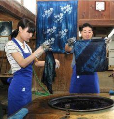 indigo dyeing process, Japan