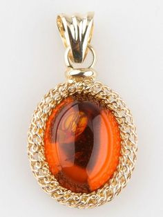 14k Yellow Gold Amber Cabochon Pendant Great Condition! 22 mm x 18 mm 3.4 grams #Pendant