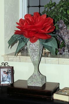 Gram Crafter paper mache vase and tissue paper rose