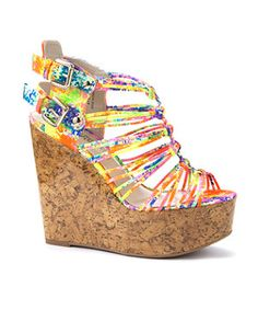 null (Multi Col) Neon Abstract Gladiator Sandal Wedges | 275589799 | New Look